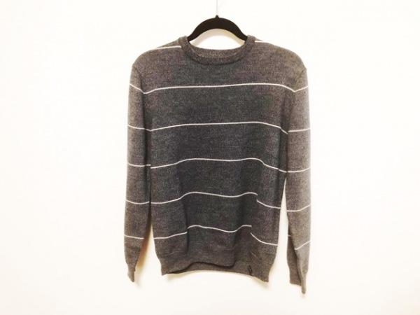 サタデーズ サーフ ニューヨーク 長袖セーター サイズM M メンズ美品  ネイビー×白
