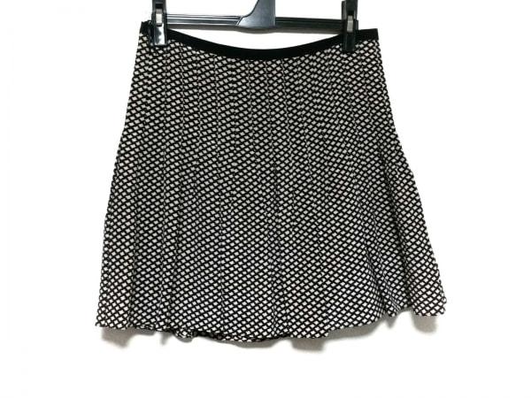 ベイジ ミニスカート サイズ2 M レディース ベージュ×ダークブラウン プリーツ