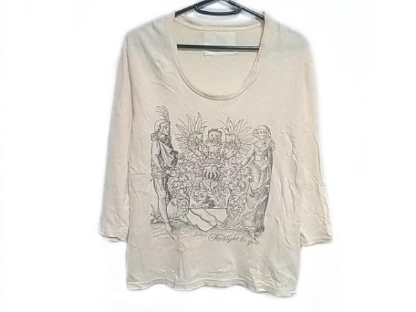 チャームカルト 七分袖Tシャツ サイズ1 S メンズ アイボリー×ダークグレー