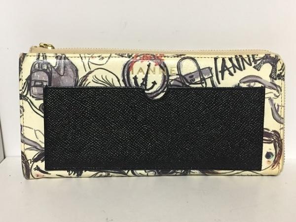 IANNE(イアンヌ) 長財布 ナタリー アイボリー×黒×マルチ L字ファスナー レザー