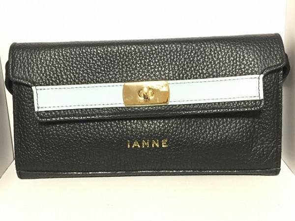 IANNE(イアンヌ) 財布 ティアラ 黒×ライトブルー レザー