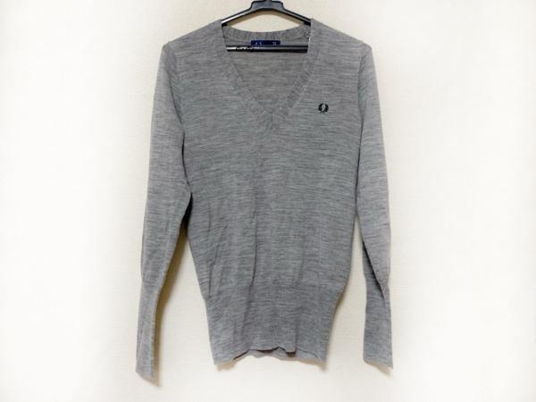 FRED PERRY(フレッドペリー) 長袖セーター サイズ38 L レディース美品  グレー ニット