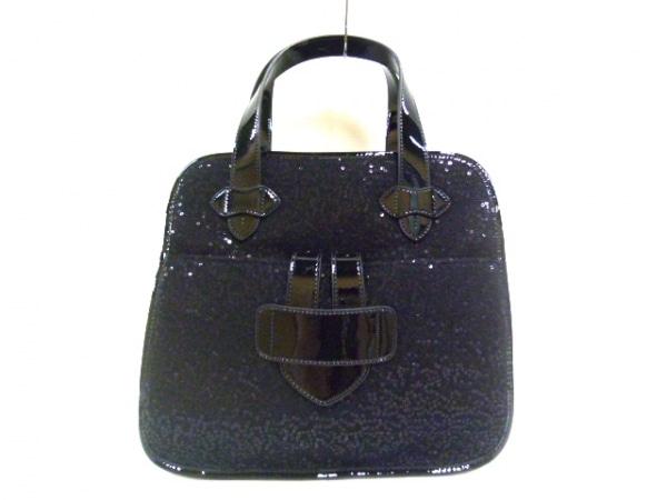 ティラマーチ トートバッグ美品  黒 化学繊維×エナメル(レザー)×スパンコール