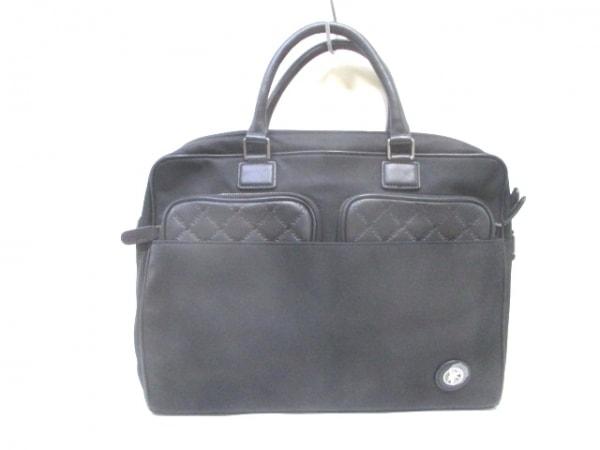ハンティングワールド ビジネスバッグ美品  黒 型押し加工 ナイロン×レザー