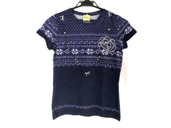 ポールスミスプラス 半袖Tシャツ サイズM レディース ネイビー×パープル×白
