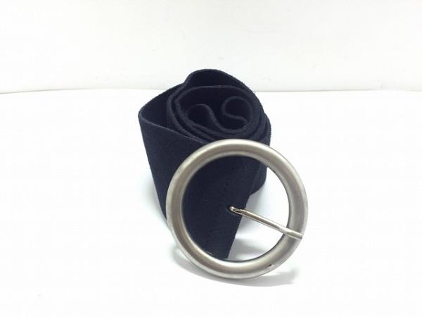 agnes b(アニエスベー) ベルト 85 黒×シルバー スエード×金属素材