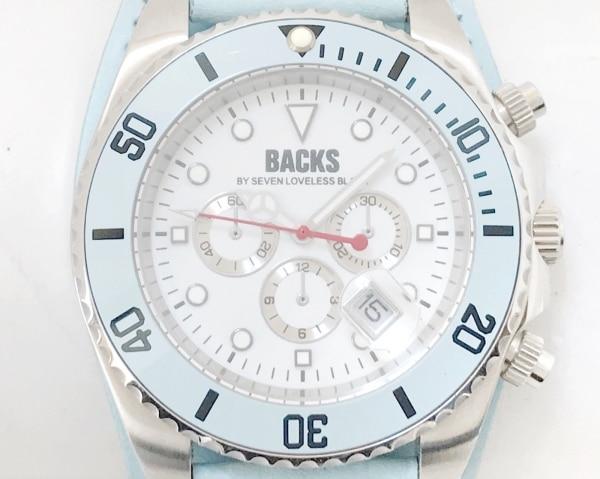 BACKS(バックス) 腕時計 - メンズ 革ベルト/クロノグラフ 白