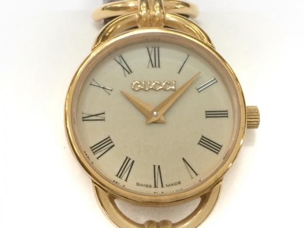 GUCCI(グッチ) 腕時計 オールドグッチ 6000.2.L レディース 型押し加工 アイボリー