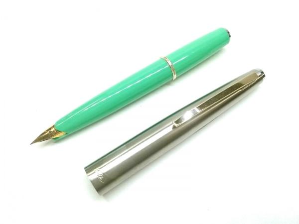 セーラー 万年筆美品  グリーン×シルバー インクなし プラスチック×金属素材
