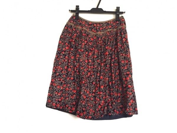 サリースコット スカート サイズ9 M レディース ネイビー×ブラウン×レッド 花柄