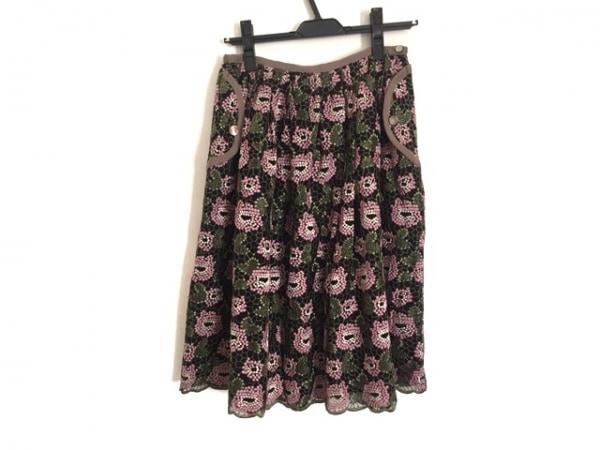 サリースコット スカート サイズ9 M レディース 黒×ピンク×グリーン 刺繍