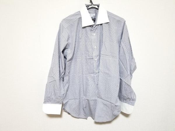 ORIAN(オリアン) 長袖シャツ サイズ43/17 メンズ 白×マルチ ストライプ