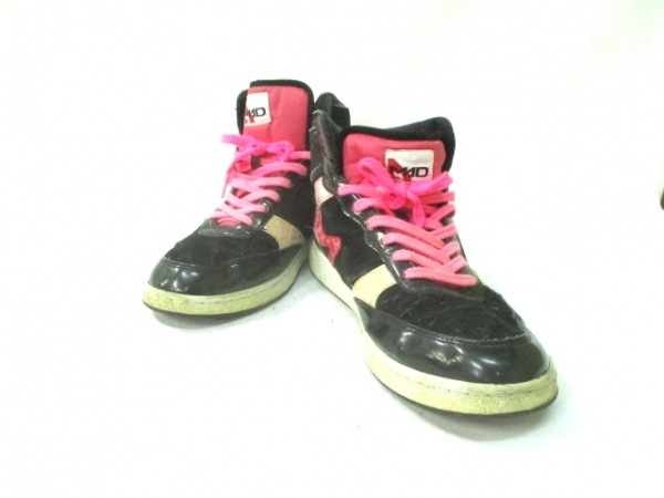 MADFOOT(マッドフット) スニーカー メンズ 黒×ピンク 合皮×エナメル(合皮)