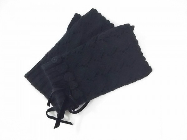 ピンクハウス 手袋 レディース 黒 リボン ナイロン×リヨセル×アンゴラ×レーヨン