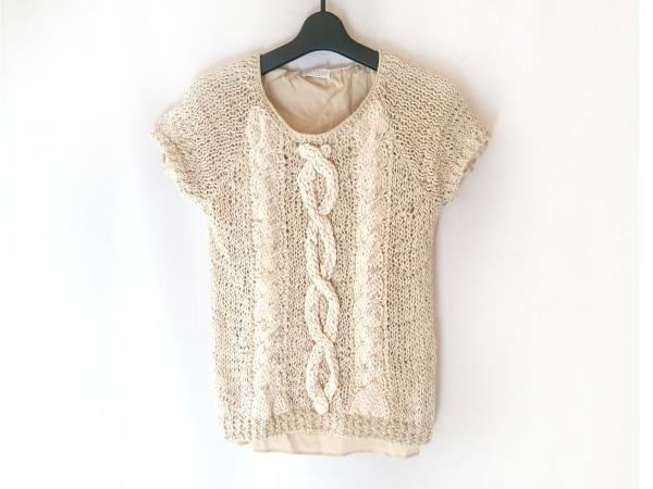 ブルネロクチネリ 半袖セーター サイズM レディース ベージュ×アイボリー×マルチ