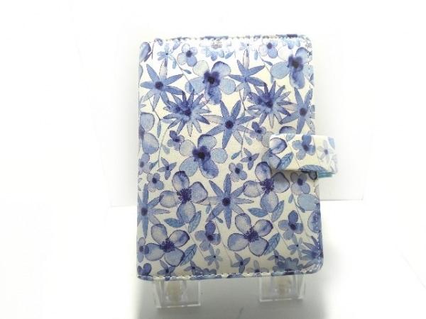 ファイロファックス 手帳美品  パターン 白×ブルー×マルチ スモール/花柄 合皮