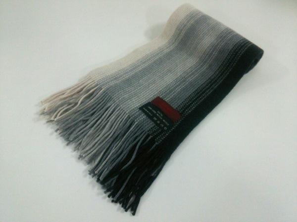 DURBAN(ダーバン) マフラー美品  黒×グレー×アイボリー ストライプ ウール