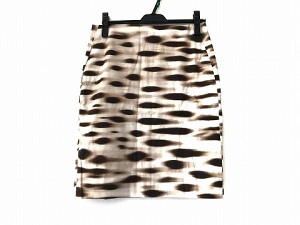 AKRIS(アクリス) スカート サイズ8 M レディース美品  アイボリー×ダークブラウン