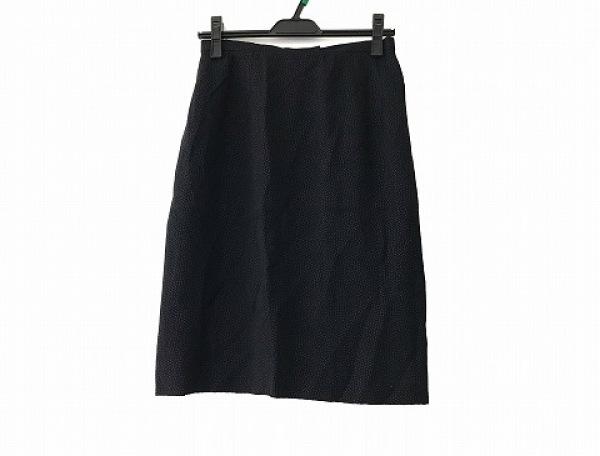 AKRIS(アクリス) スカート サイズ40 XL レディース美品  ネイビー PUNTO/ドット柄
