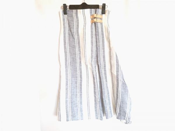 O'NEIL(オニール) スカート サイズ40 M レディース 白×ネイビー×ベージュ