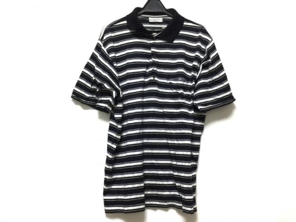 クリスチャンディオールムッシュ 半袖ポロシャツ メンズ 黒×白×パープル ボーダー