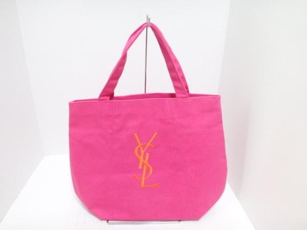 イヴサンローランパフューム トートバッグ ピンク×オレンジ 刺繍 キャンバス