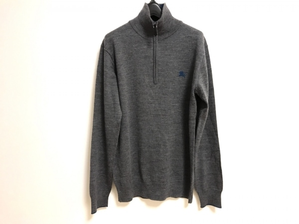 バーバリーブラックレーベル 長袖セーター サイズ3 L メンズ ダークグレー×ブルー