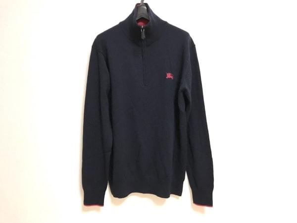 バーバリーブラックレーベル 長袖セーター サイズ3 L メンズ ダークネイビー×ピンク
