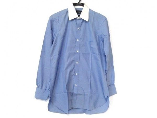 ターンブル&アッサー 長袖シャツ サイズ12 メンズ新品同様  ブルー×白 BESPOKE
