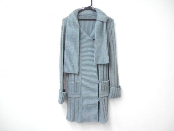 Cara(カーラ) コート サイズ42 L レディース新品同様  ライトブルー ニット/春・秋物