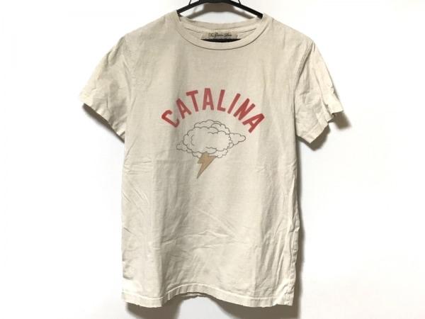 レミ レリーフ 半袖Tシャツ サイズS レディース 白×レッド×マルチ ダメージ加工