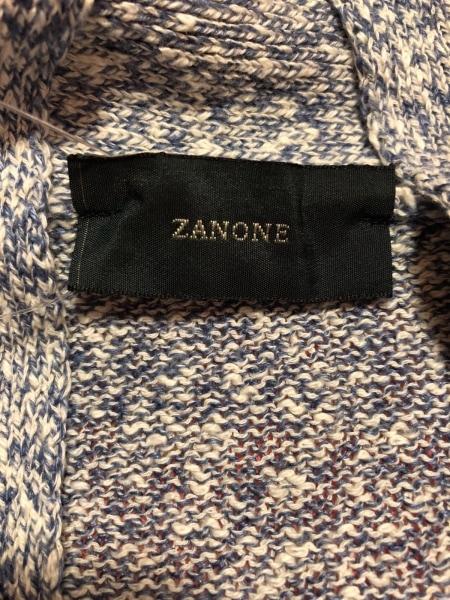 ZANONE(ザノーネ) カーディガン サイズ44 L メンズ ブルー×白