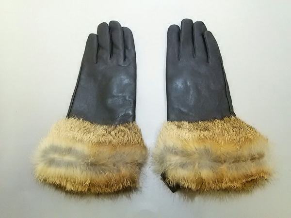 yves salomon(イヴサロモン) 手袋 レディース美品  黒×ブラウン レザー×ラビット