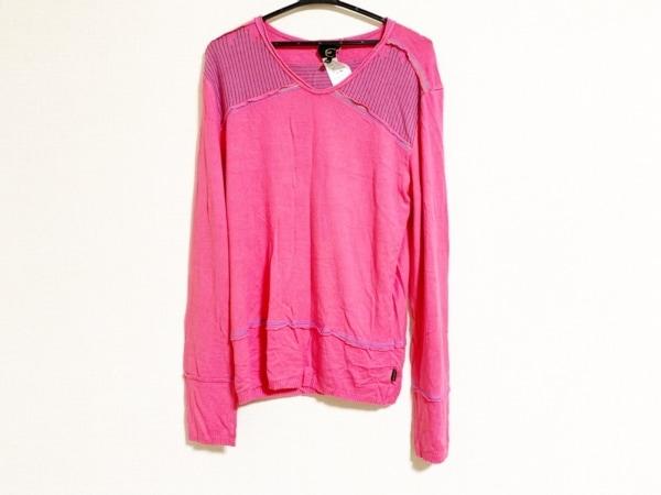 JUST cavalli(ジャストカヴァリ) 長袖セーター メンズ ピンク×パープル×グリーン