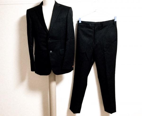 タケオキクチ シングルスーツ サイズ2 M メンズ 黒×グレー 肩パッド/ストライプ