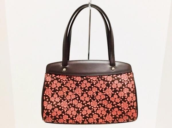 印傳屋(インデンヤ) ハンドバッグ美品  ダークブラウン×ブラウン 花柄 レザー×漆