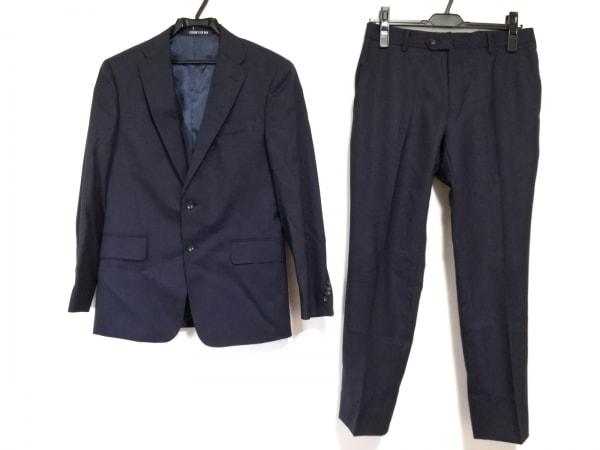 パーソンズ シングルスーツ メンズ ネイビー×ブルー FOR MEN/3点セット/ストライプ