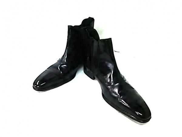 マドラス ショートブーツ 26 メンズ 黒 サイドゴア/ウィングチップ レザー×化学繊維