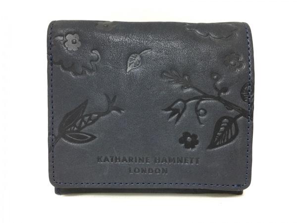 c655999a6817 キャサリンハムネット 2つ折り財布美品 ダークグレー 型押し加工 レザー ...