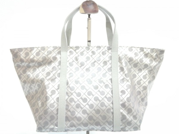 GHERARDINI(ゲラルディーニ) ハンドバッグ美品  グレー PVC(塩化ビニール)×レザー