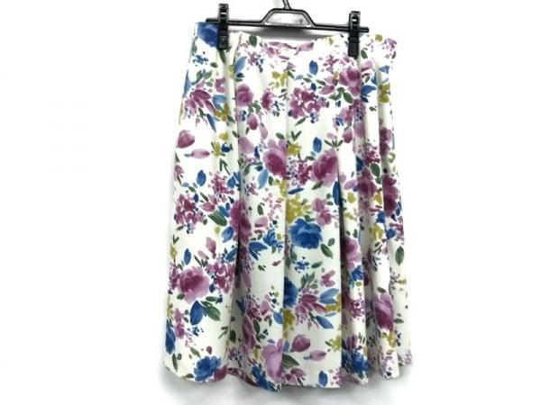 ローズティアラ スカート サイズ46 XL レディース美品  アイボリー×ピンク×マルチ