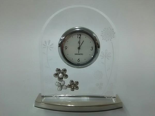 mikimoto(ミキモト) 小物美品  クリア×シルバー×アイボリー 置時計(動作確認できず)