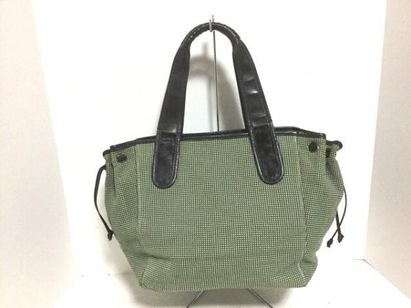 TOPKAPI(トプカピ) トートバッグ グリーン×白×ダークブラウン コットン×レザー