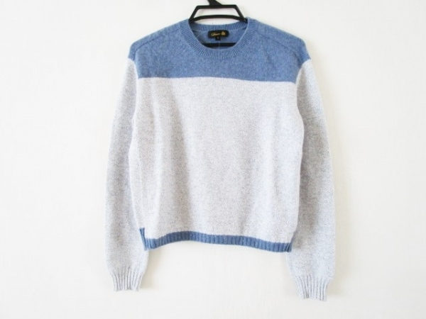 Drawer(ドゥロワー) 長袖セーター サイズ1 S レディース 白×ライトブルー カシミヤ混