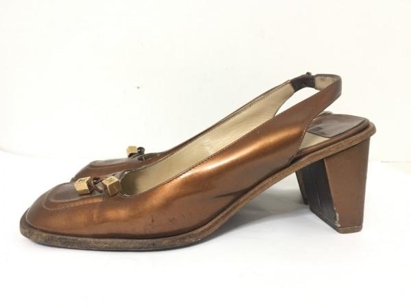 ルイヴィトン サンダル 36 レディース - ブラウン エナメル(レザー)×金属素材