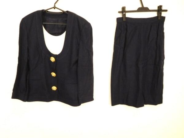 ギンザマギー スカートスーツ サイズ9 M レディース美品  ダークネイビー 肩パッド