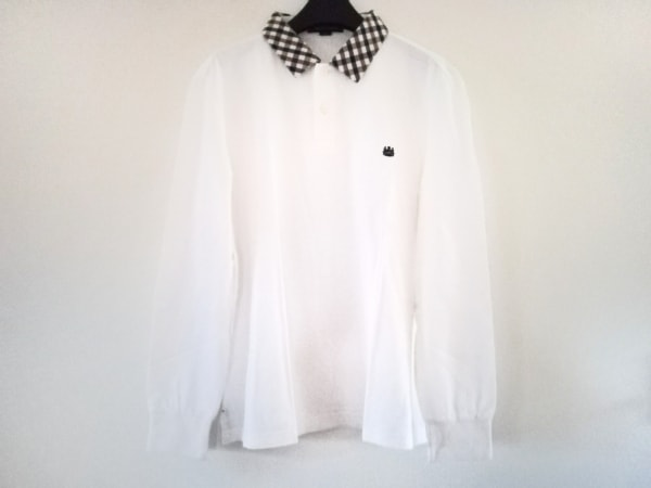 アクアスキュータム 長袖ポロシャツ サイズL メンズ 白×ベージュ×マルチ