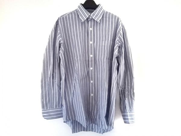 アクアスキュータム 長袖シャツ サイズL メンズ美品  ブルー×白×黒 ストライプ