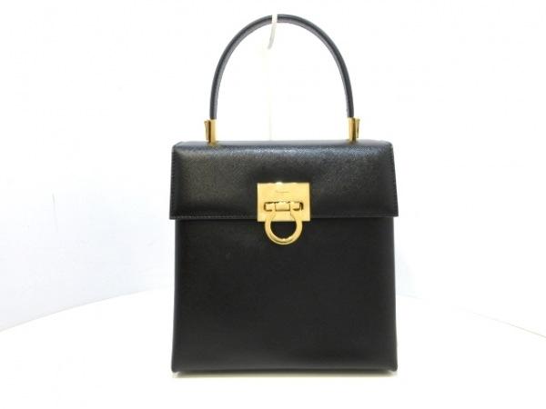 サルバトーレフェラガモ ハンドバッグ美品  ガンチーニ 黒×ゴールド