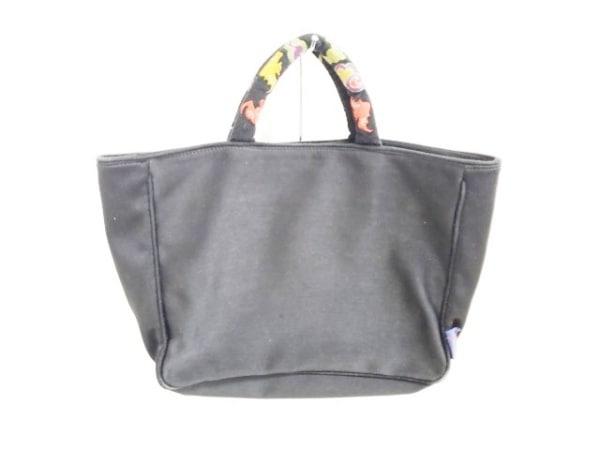 Y'SACCS(イザック) ハンドバッグ 黒×マルチ 刺繍 化学繊維